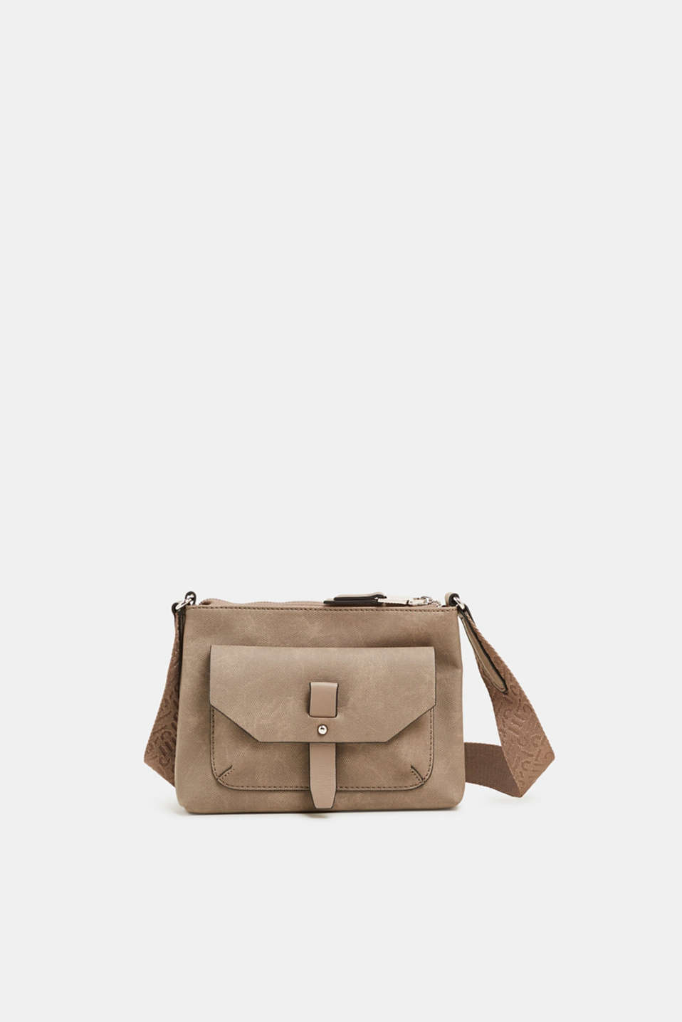 Small faux leather bag with a logo strap, TAUPE, detail image number 0