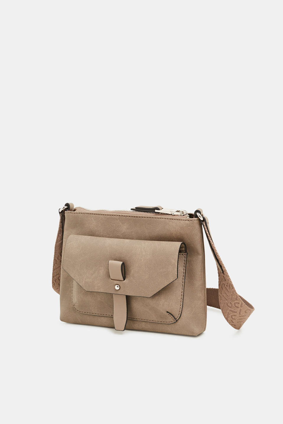 Small faux leather bag with a logo strap, TAUPE, detail image number 2