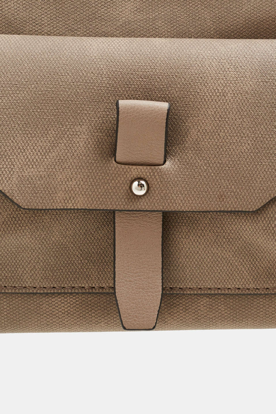 Small faux leather bag with a logo strap, TAUPE, detail image number 3