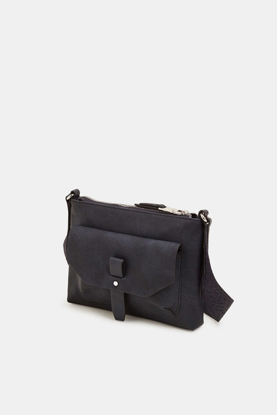 Small faux leather bag with a logo strap, NAVY, detail image number 2