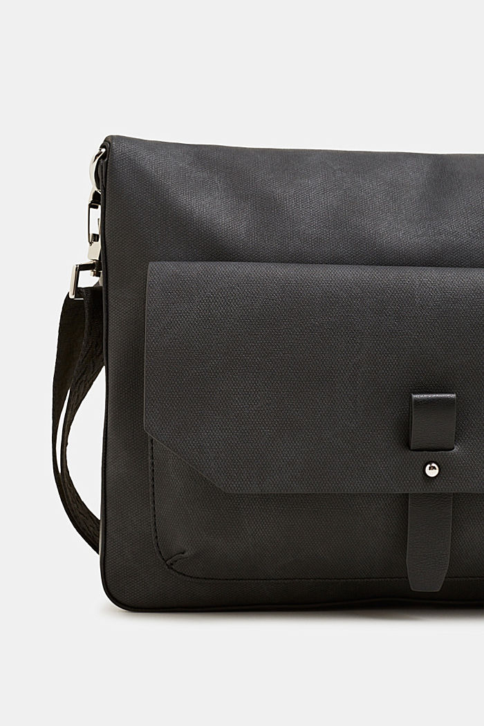 Flapover bag in faux leather, BLACK, detail image number 2