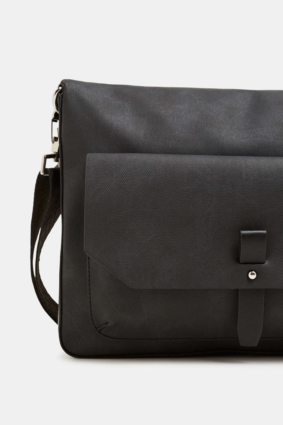 Flapover bag in faux leather, BLACK, detail image number 3