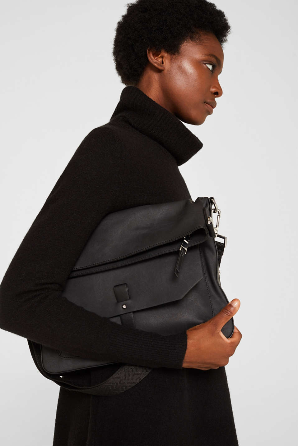 Flapover bag in faux leather, BLACK, detail image number 1