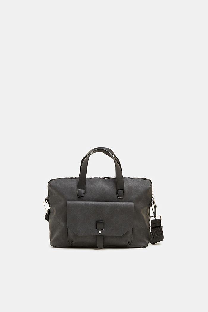 City bag in leerlook, BLACK, detail image number 0