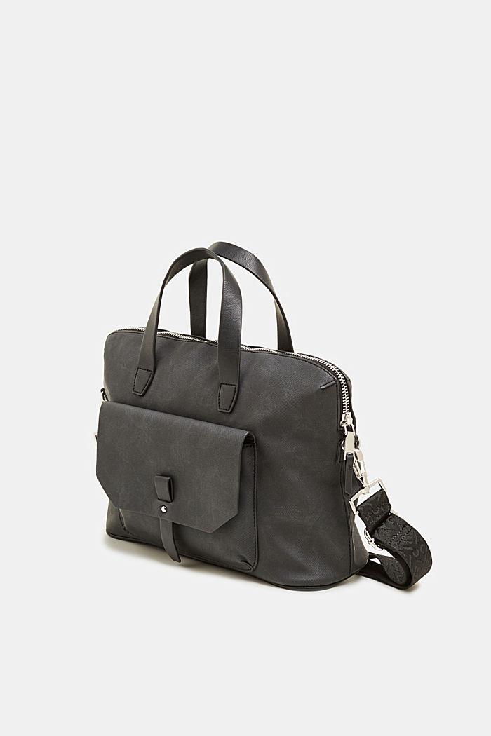 City bag in leerlook, BLACK, detail image number 1