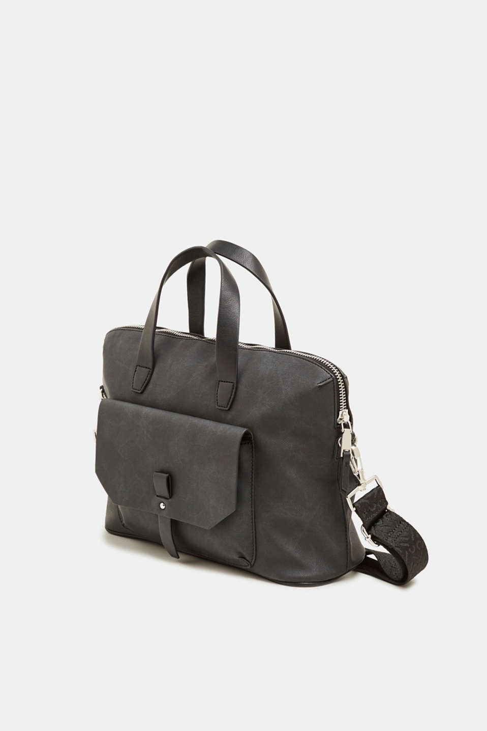 Faux leather tote bag, BLACK, detail image number 2