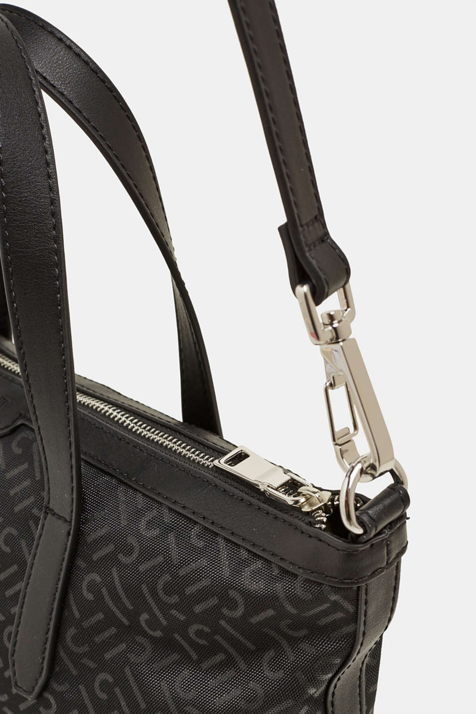 Monogram shoulder bag made of nylon, BLACK, detail image number 3