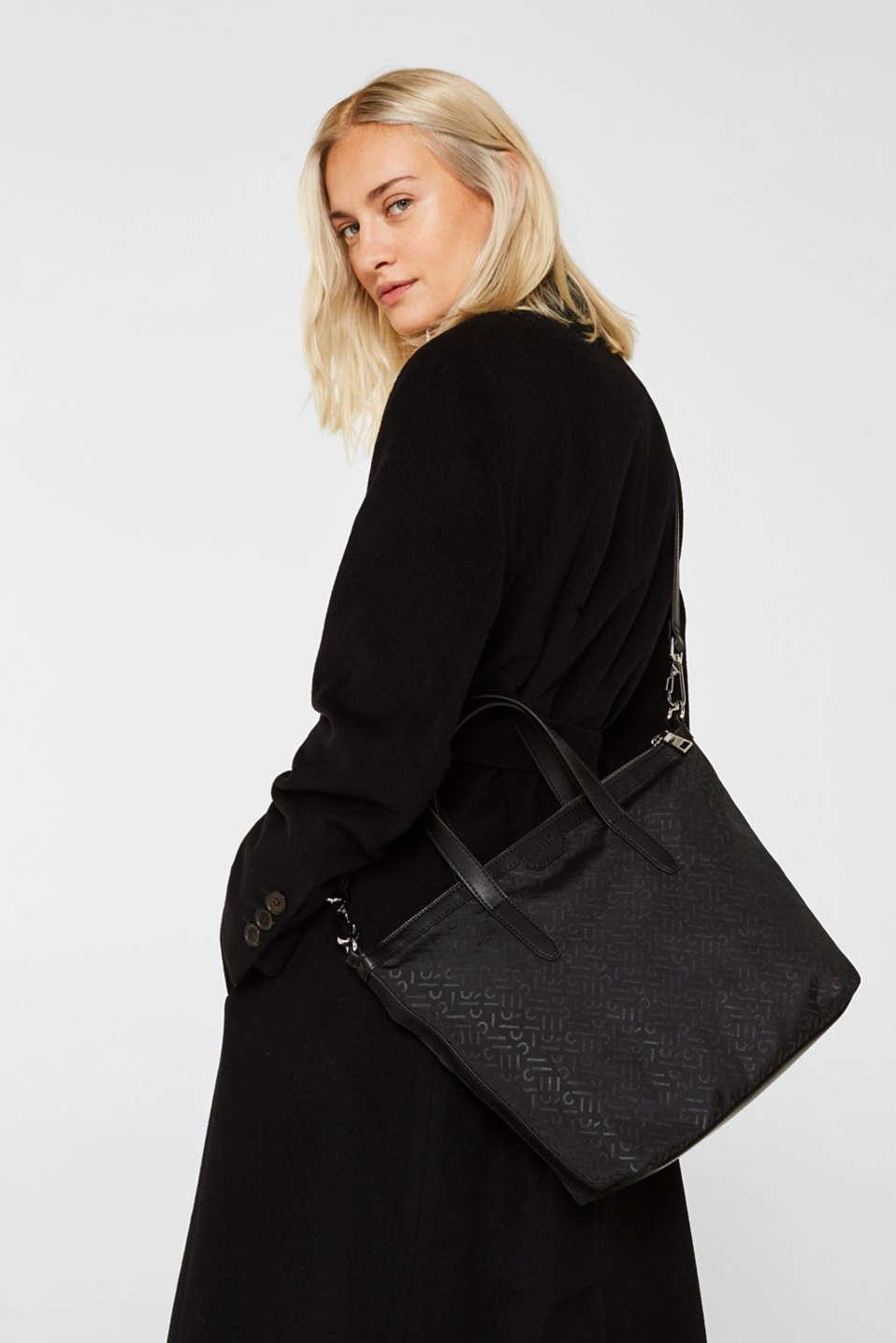 Monogram shoulder bag made of nylon, BLACK, detail image number 1