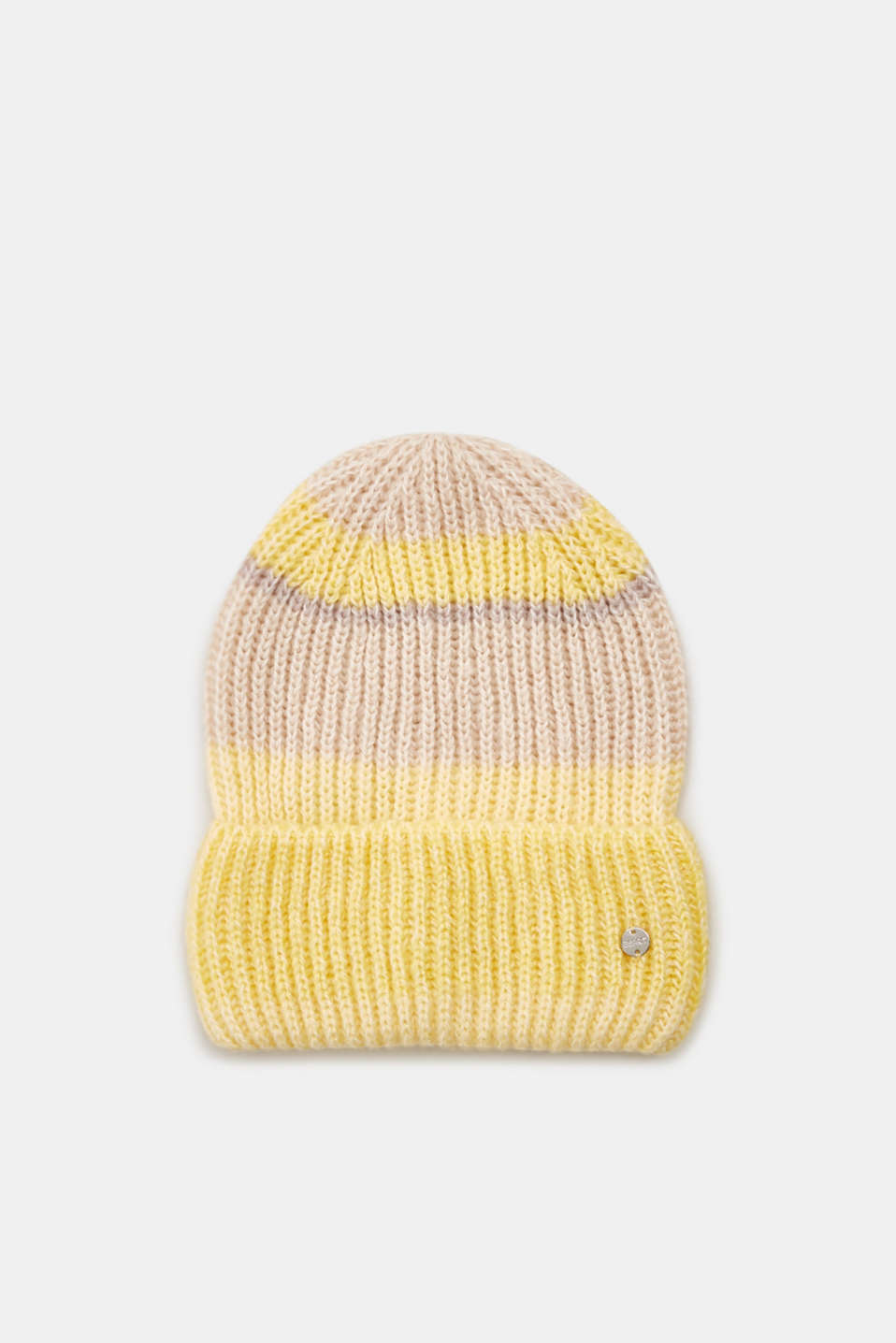 With wool: striped beanie, DUSTY YELLOW, detail image number 0