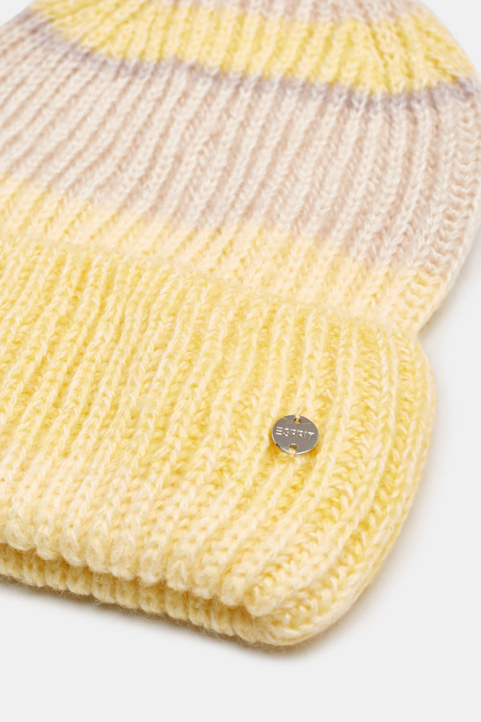 With wool: striped beanie, DUSTY YELLOW, detail image number 1