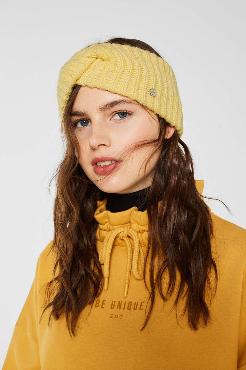 Blended wool: Headband with knot detail, DUSTY YELLOW, detail image number 2