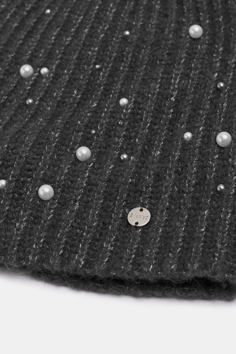 Hat with bead embroidery, GREY, detail image number 1