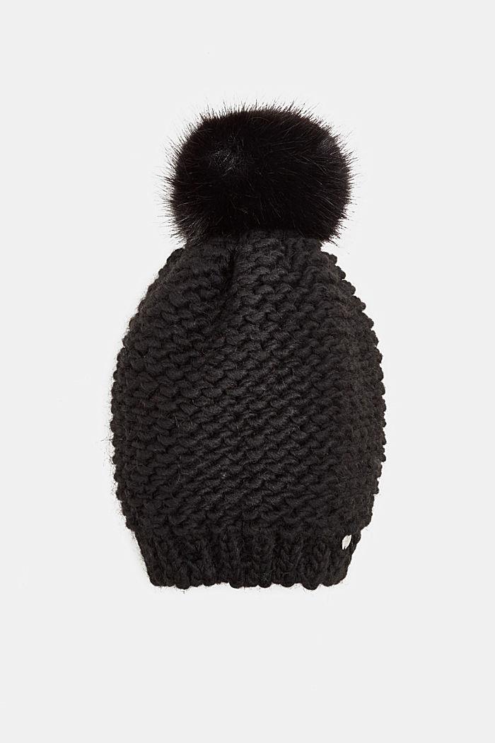 Con lana y alpaca: gorro con pompón de pelo sintético, BLACK, detail image number 0