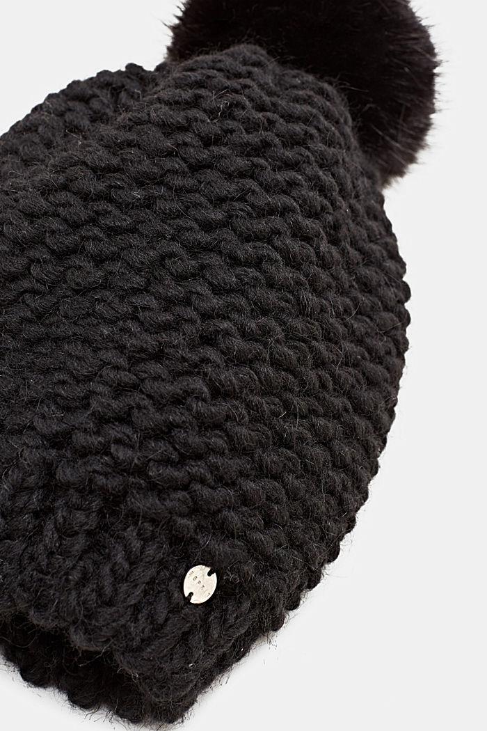 Con lana y alpaca: gorro con pompón de pelo sintético, BLACK, detail image number 1