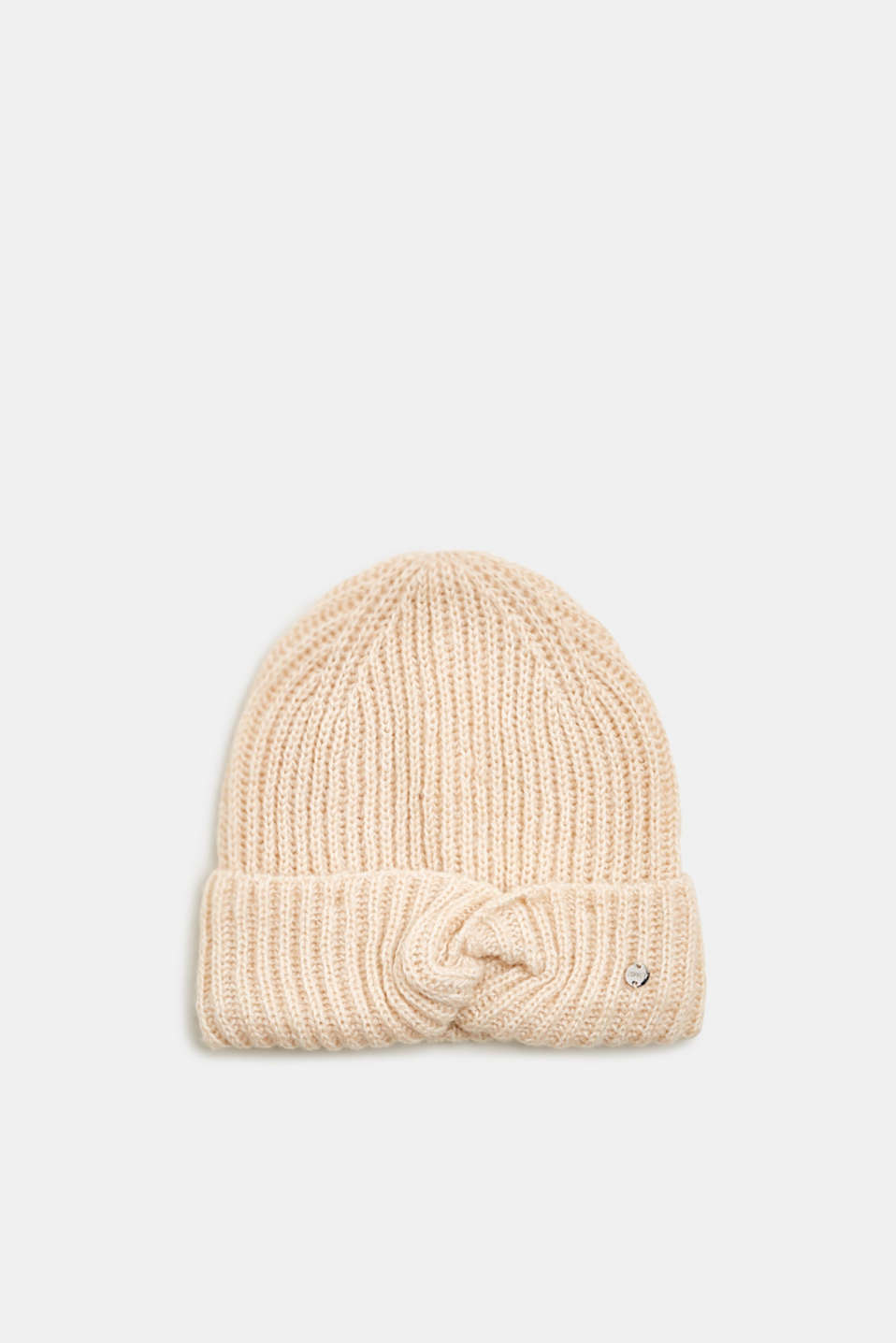 With wool: ribbed hat with a knotted detail, SAND, detail image number 0