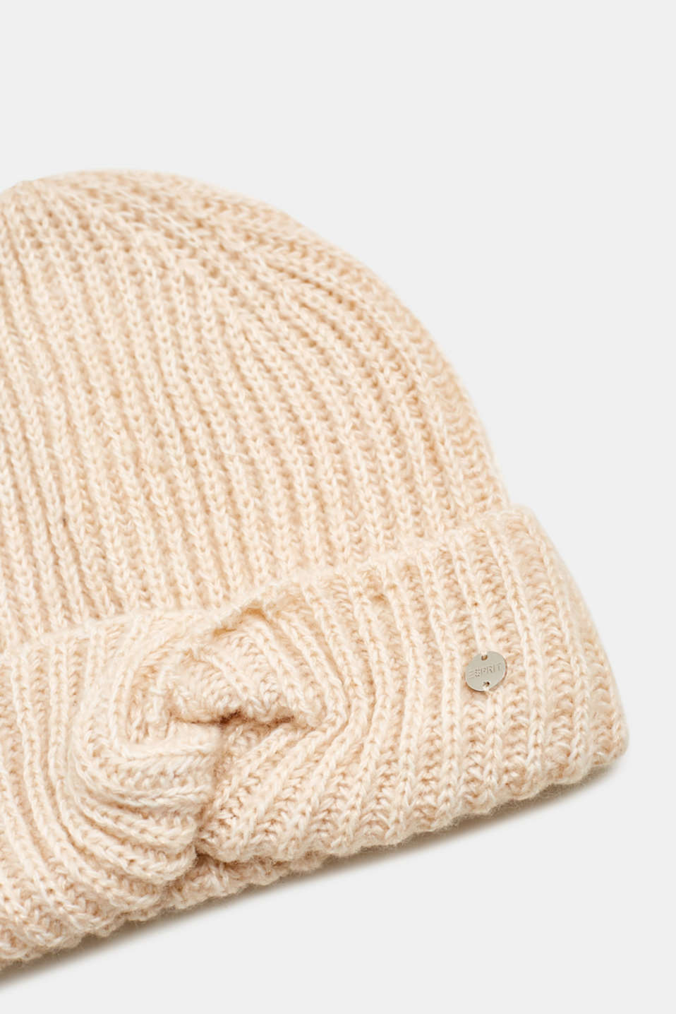 With wool: ribbed hat with a knotted detail, SAND, detail image number 1