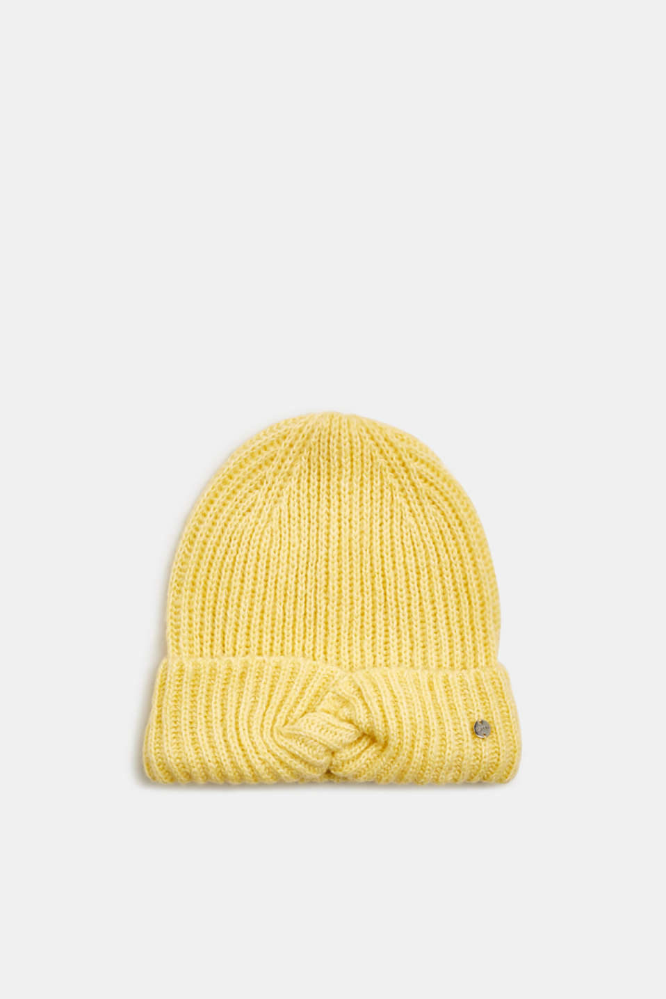 Esprit - With wool: ribbed hat with a knotted detail