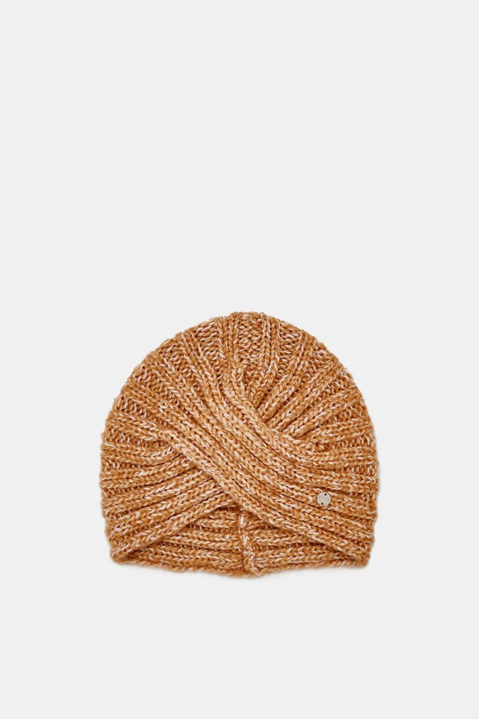 Wool blend: hat in a turban look, CREAM BEIGE, detail image number 0