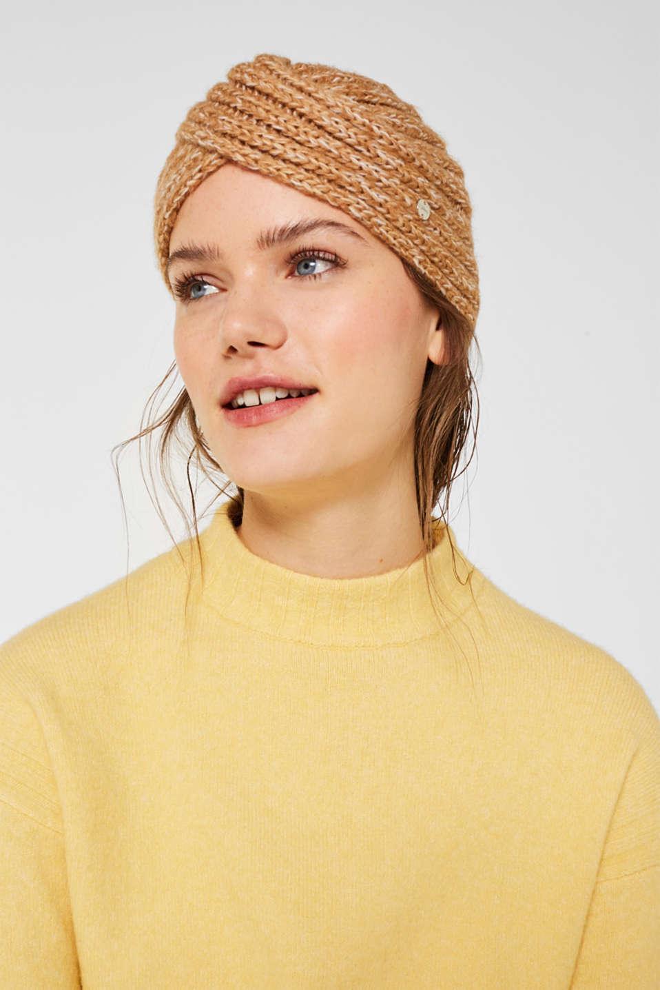 Wool blend: hat in a turban look, CREAM BEIGE, detail image number 2