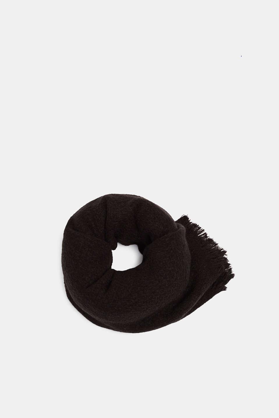 Wool blend: textured scarf, BLACK, detail image number 0