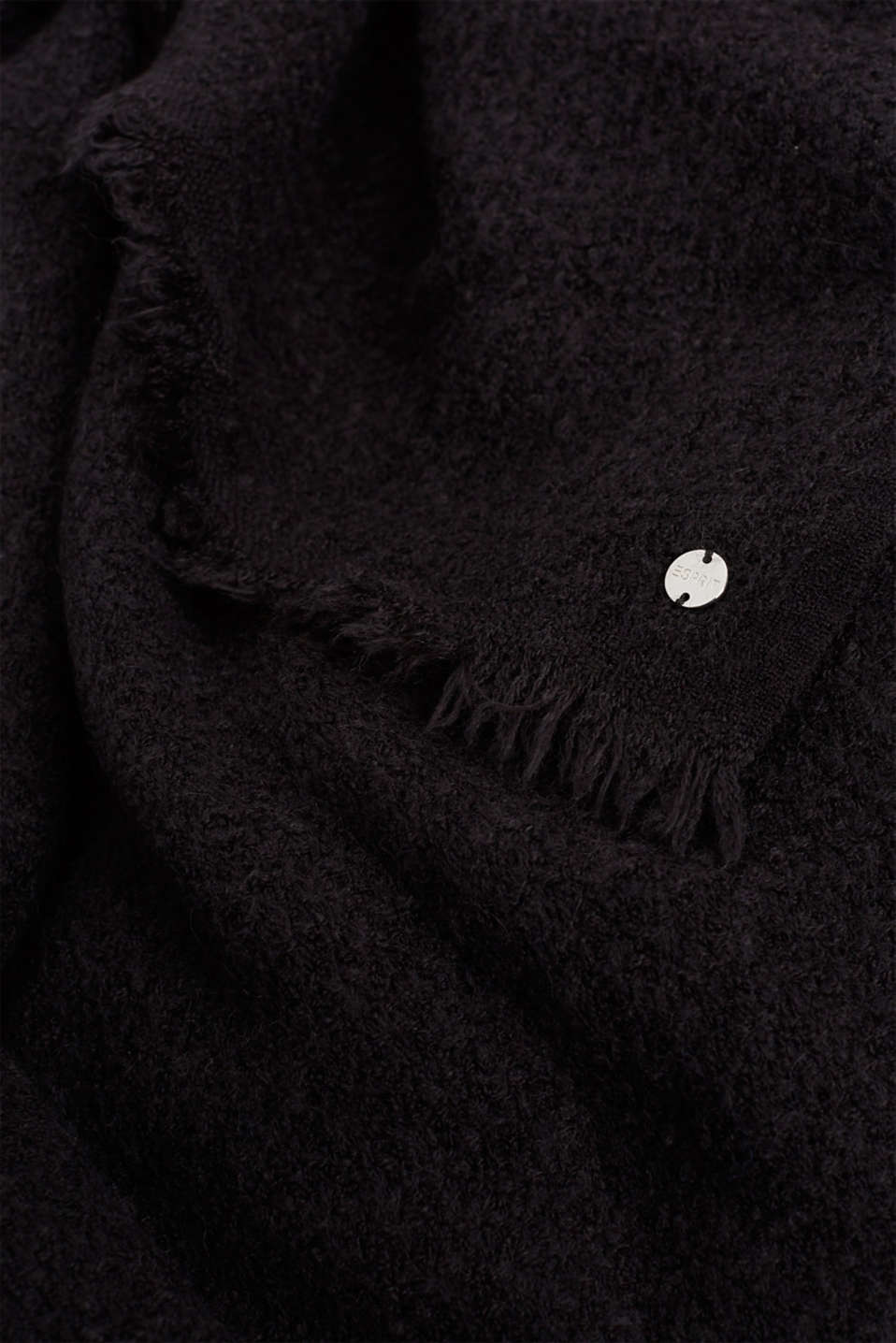 Wool blend: textured scarf, BLACK, detail image number 2