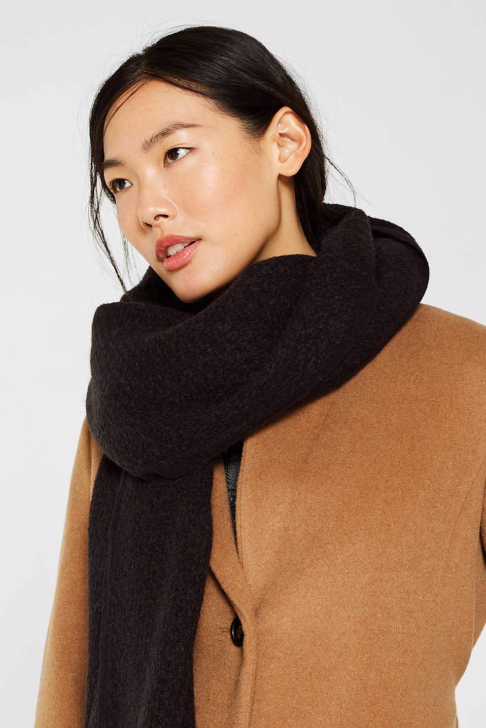 Wool blend: textured scarf, BLACK, detail image number 1