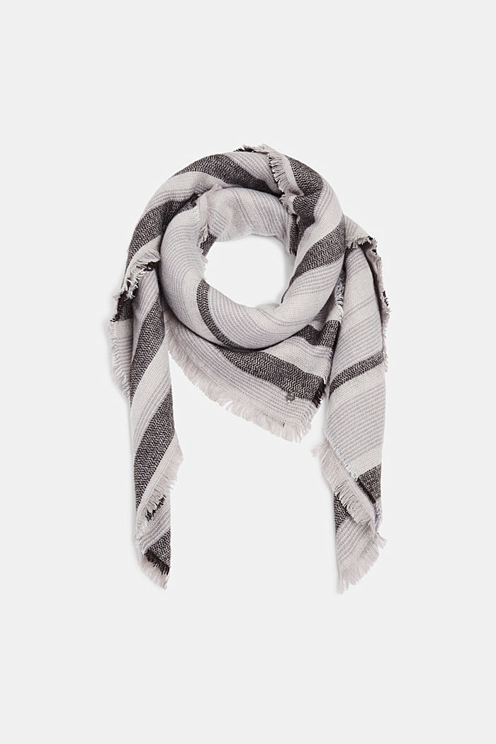 Scarf with stripes, ANTHRACITE, detail image number 0