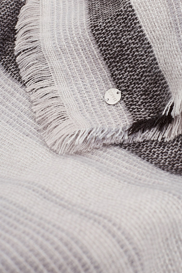 Scarf with stripes, ANTHRACITE, detail image number 1