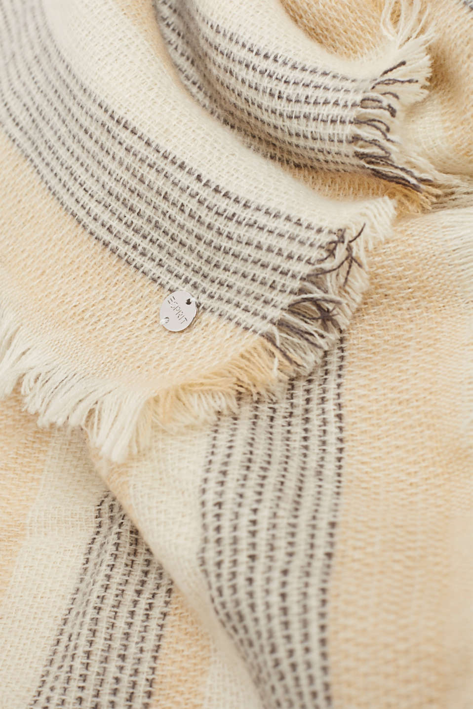 Scarf with stripes, CAMEL, detail image number 2