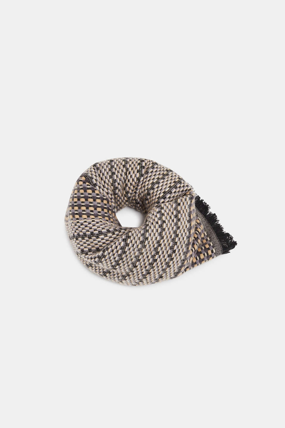 Textured woven scarf, DARK GREY, detail image number 0
