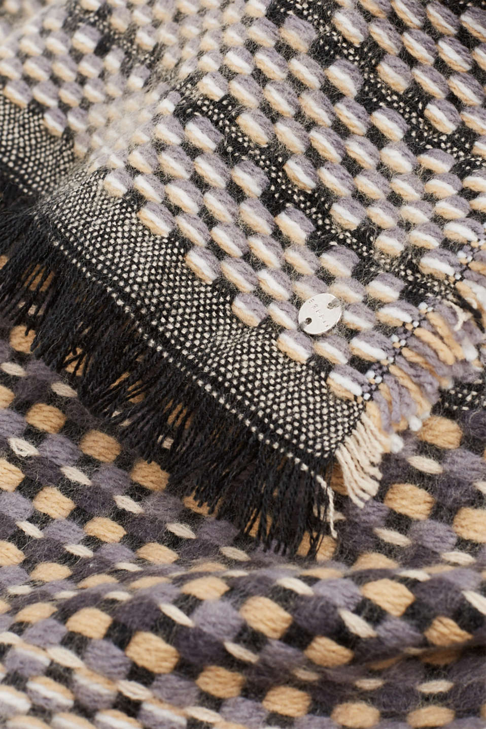 Textured woven scarf, DARK GREY, detail image number 2