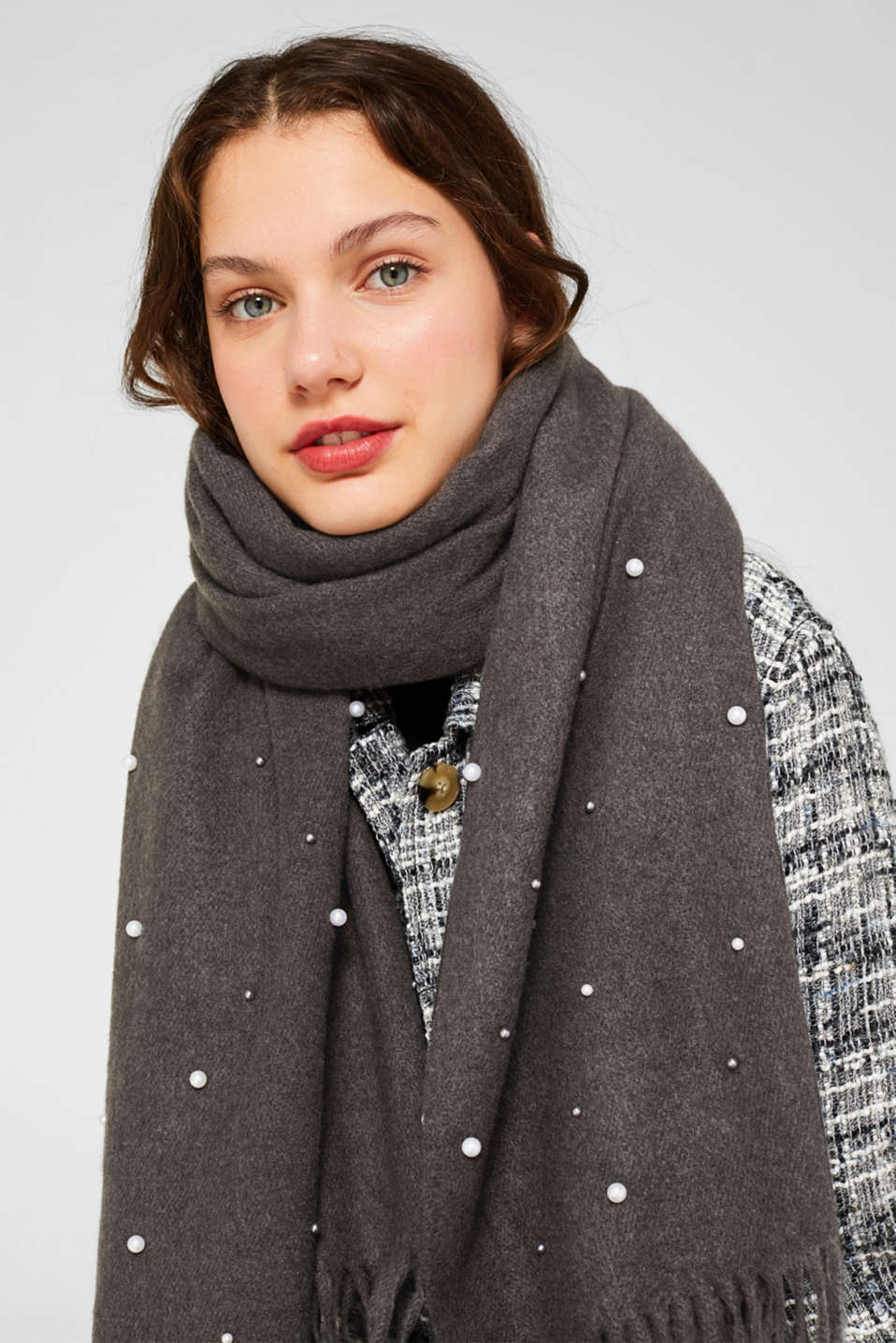 Scarf with embroidered beads, GREY, detail image number 1
