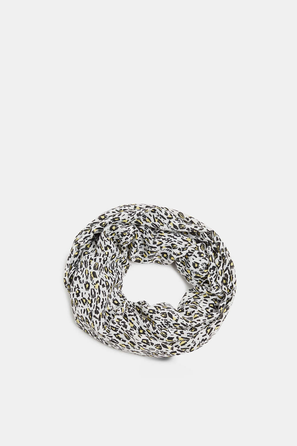 Snood scarf with an animal print, OFF WHITE, detail image number 0