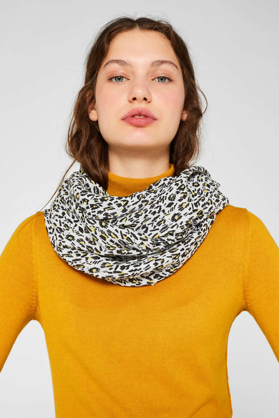 Snood scarf with an animal print, OFF WHITE, detail image number 1