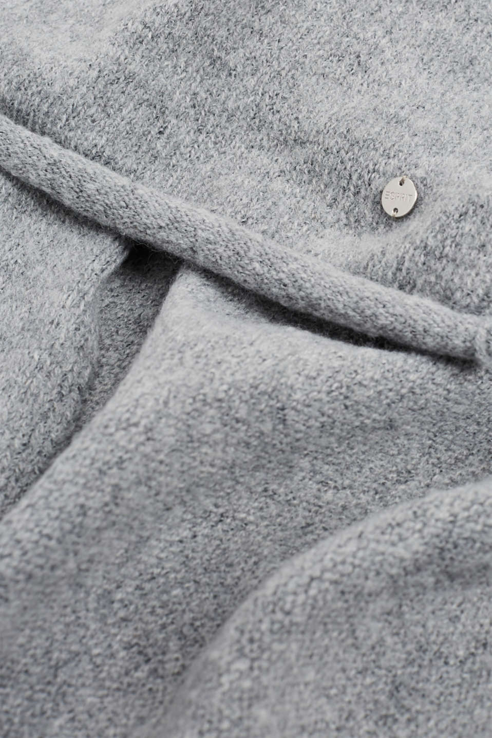 Scarf with a percentage of wool and rolled edges, MEDIUM GREY, detail image number 2