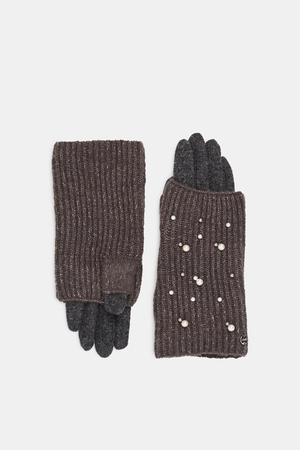 Esprit - 2-in-1 gloves with bead embroidery