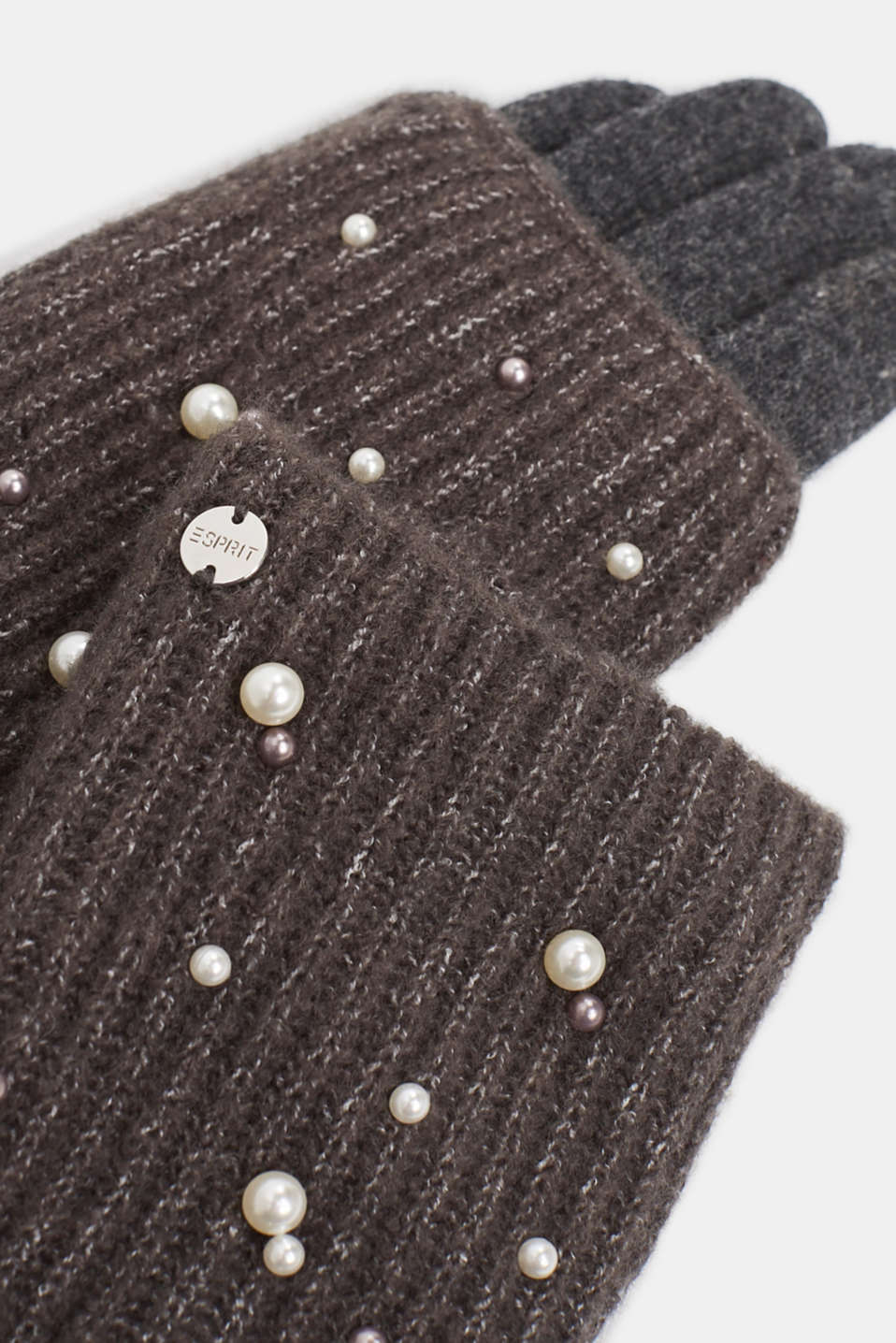Gloves non-leather, GREY, detail image number 1