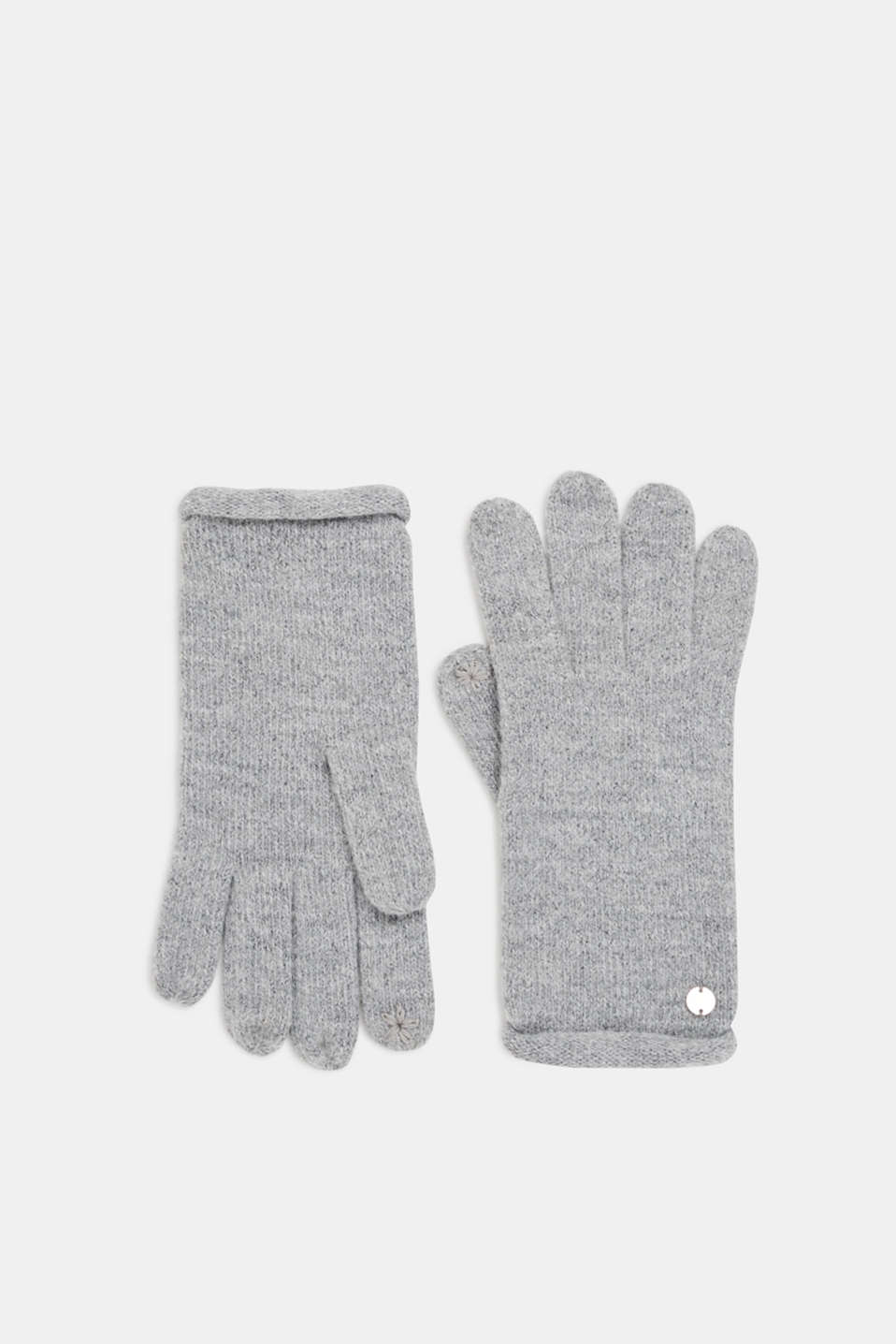 Esprit - Wool blend: gloves with rolled edges