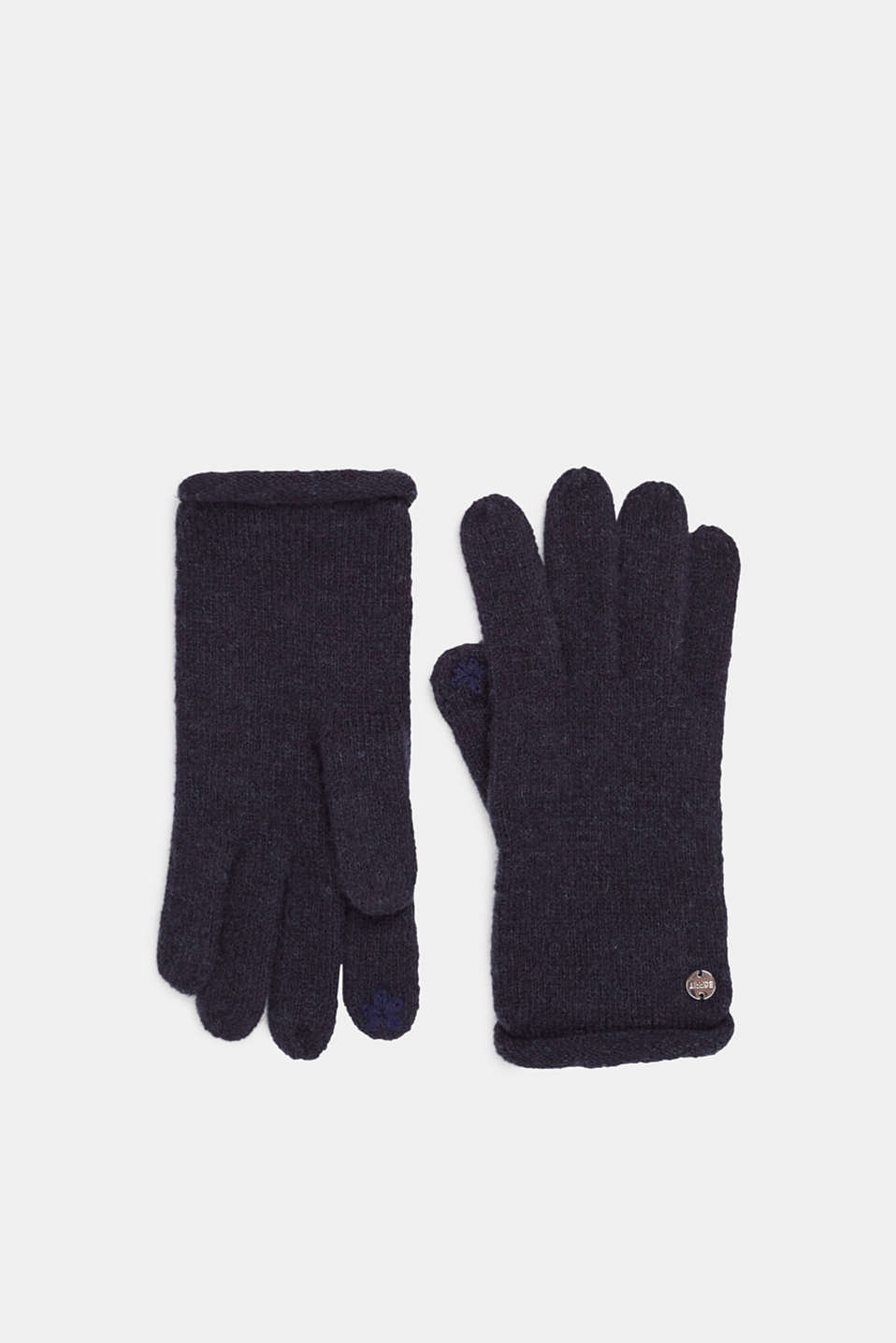 Wool blend: gloves with rolled edges, NAVY, detail image number 0