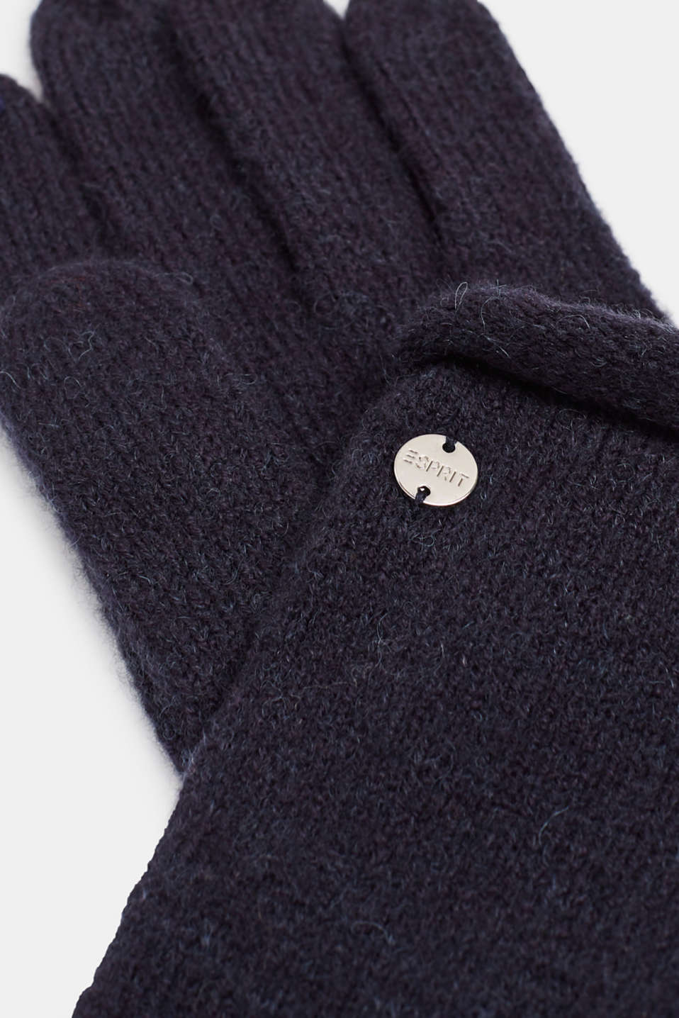 Wool blend: gloves with rolled edges, NAVY, detail image number 1