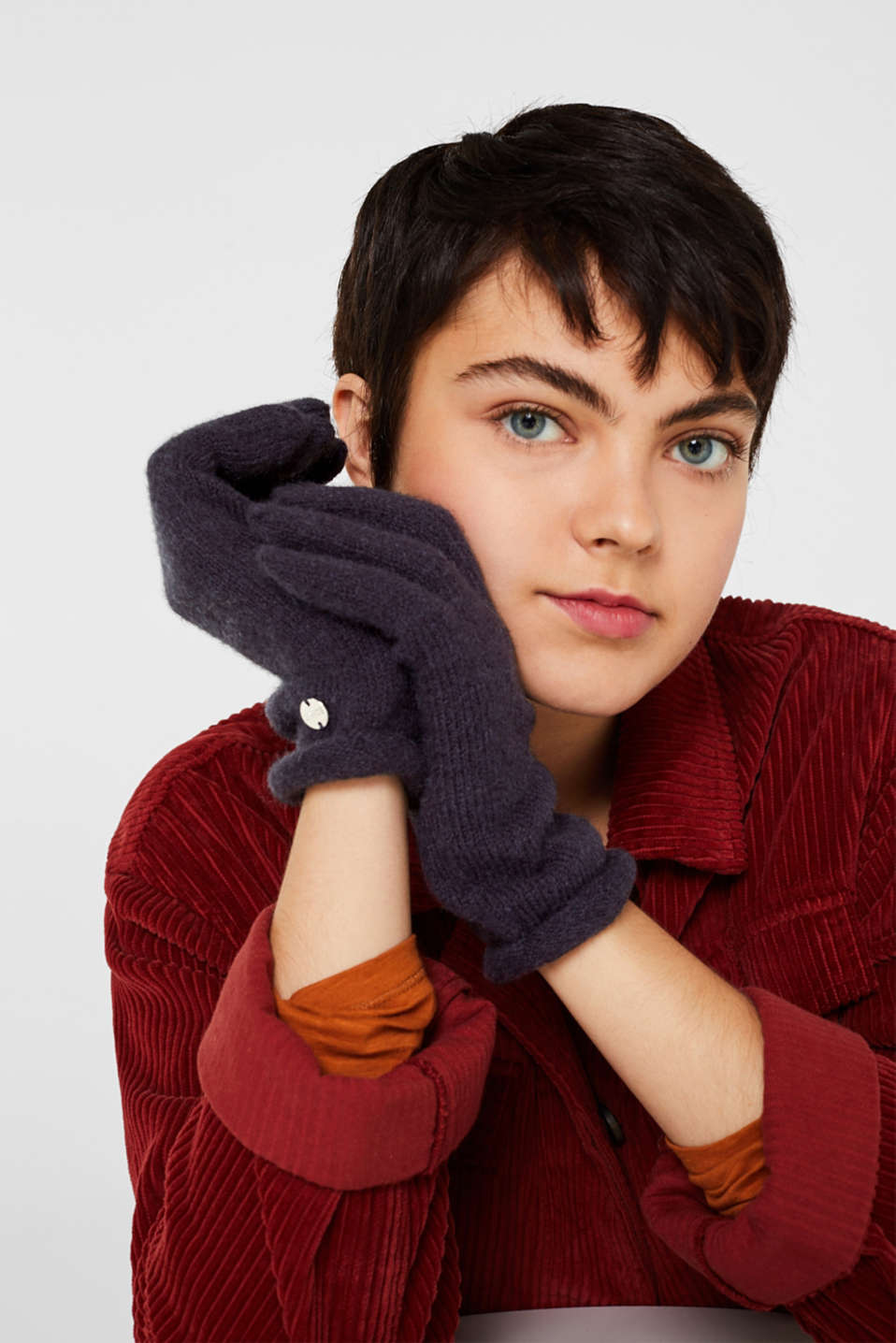 Wool blend: gloves with rolled edges, NAVY, detail image number 2