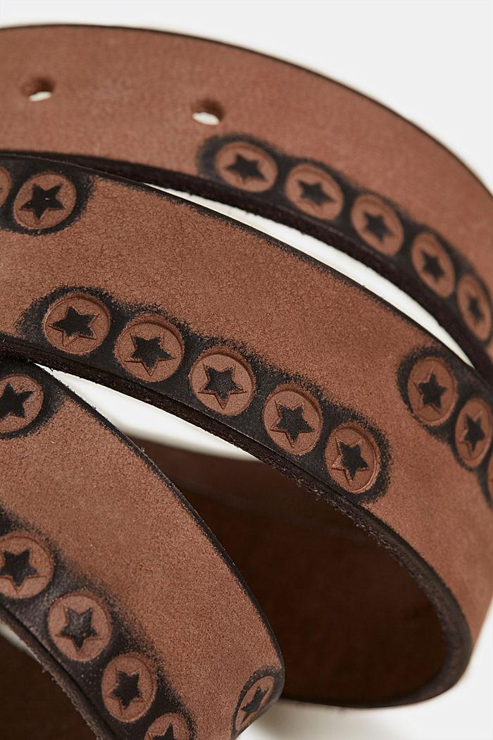 Cintura con stelle, in pelle, DARK GREY, detail image number 1