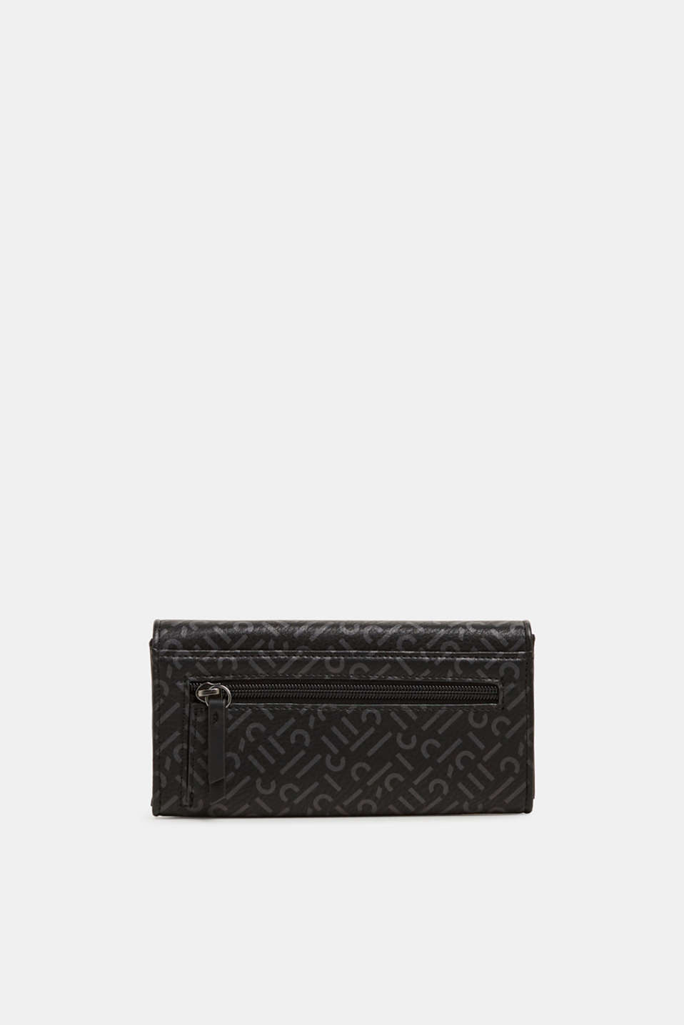 Wallet with a monogram print, made of faux leather, BLACK, detail image number 2