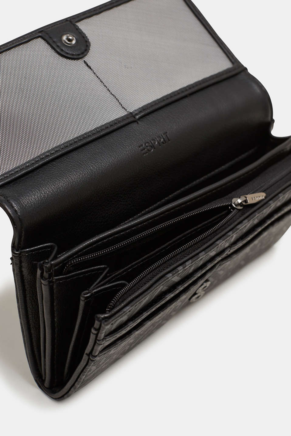 Wallet with a monogram print, made of faux leather, BLACK, detail image number 3