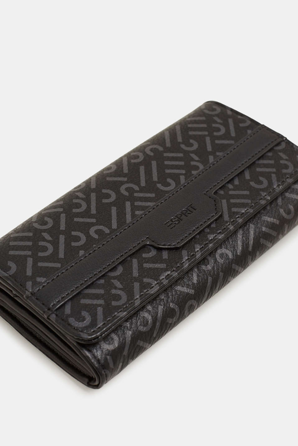 Wallet with a monogram print, made of faux leather, BLACK, detail image number 1