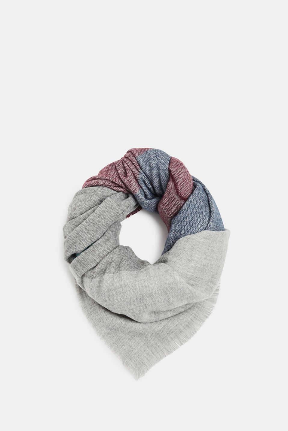 Scarf with colour block elements, LIGHT GREY, detail image number 0