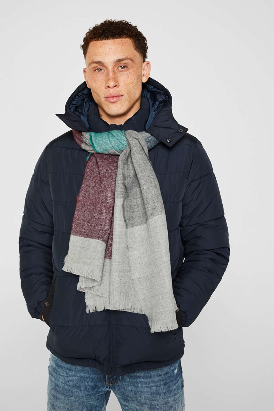 Scarf with colour block elements, LIGHT GREY, detail image number 1