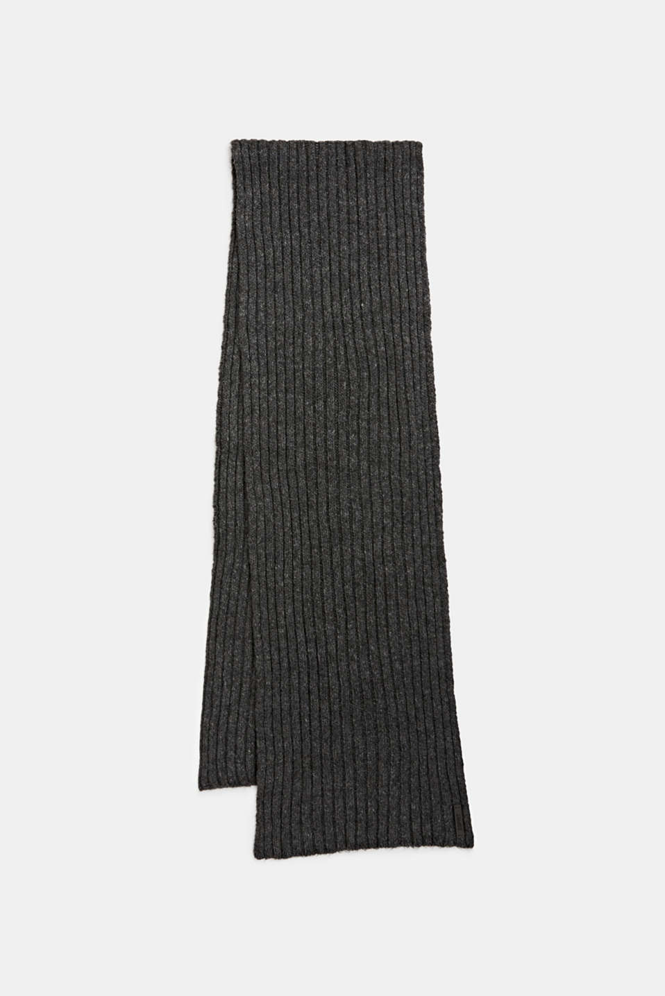 Scarf with a wide ribbed texture, DARK GREY, detail image number 0
