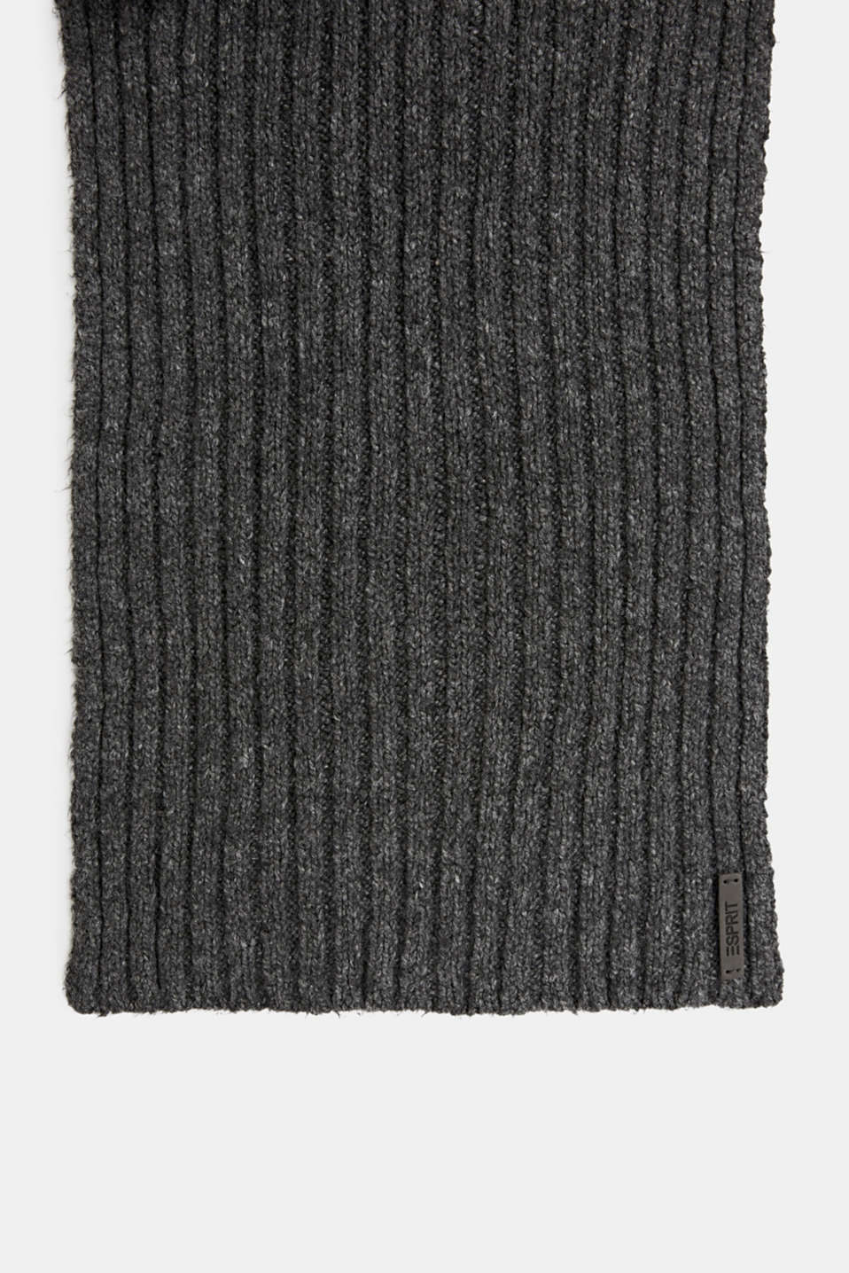 Scarf with a wide ribbed texture, DARK GREY, detail image number 2