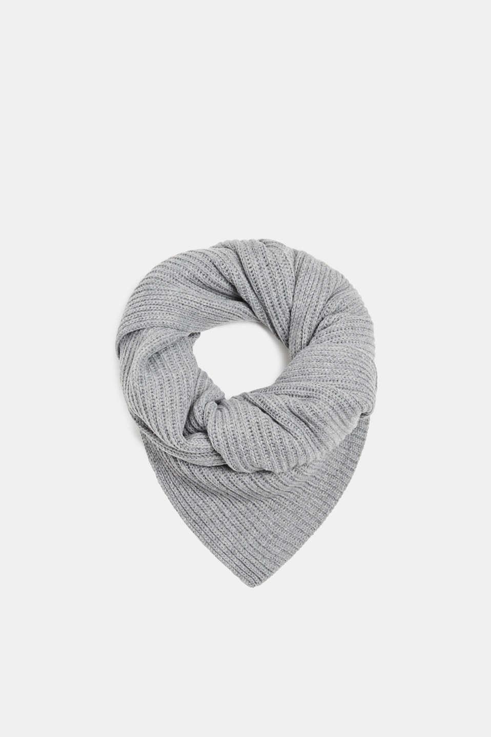 Wool blend: ribbed knit scarf, MEDIUM GREY, detail image number 0